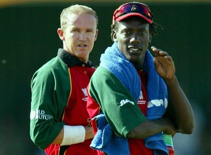 Zimbabwe captain Andy Flower (left) and Henry Olonga