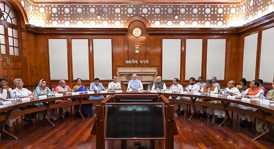Prime Minister Narendra Modi with Union Ministers Nitin Gadkari, Rajnath Singh, Amit Shah, Nirmala Sitharaman and others during the first cabinet meeting, at the Prime Minister's Office, in South Block, New Delhi. (Image: PTI)
