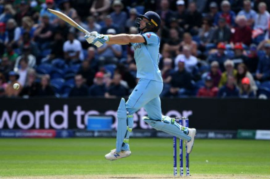 England's Jos Buttler leaps into the air to play a shot. (Image: AFP)