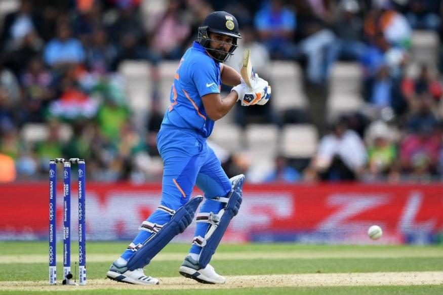 Rohit Sharma attempts a shot. (Twitter/ ICC)