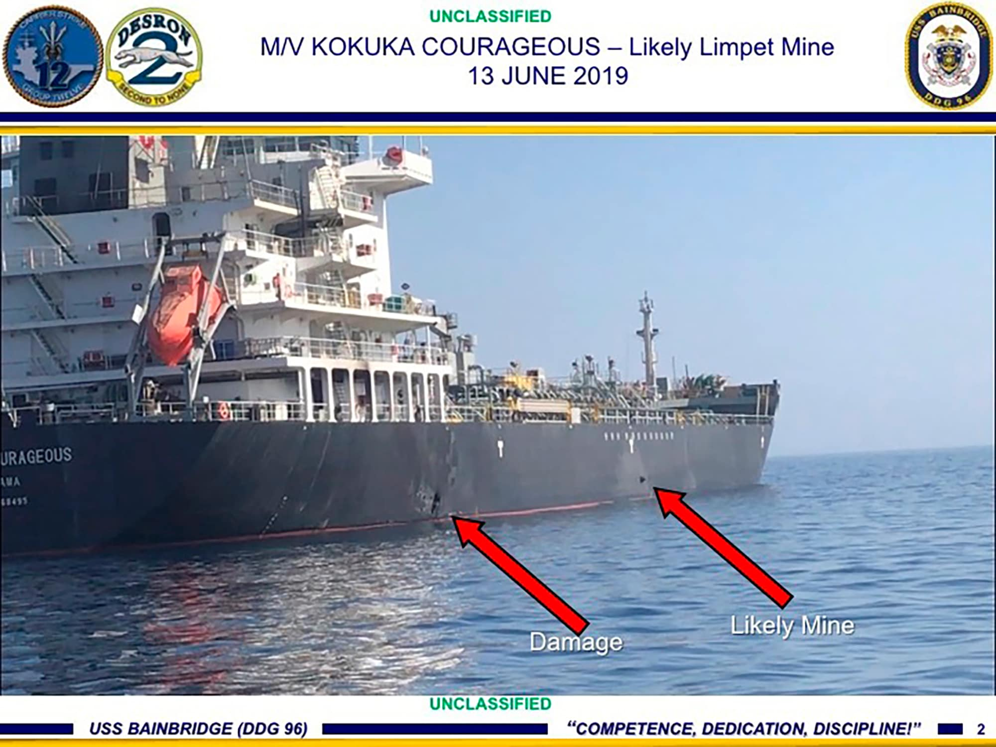 This June 13, 2019, image released by the US military's Central Command, shows damage and a suspected mine on the Kokuka Courageous in the Gulf of Oman near the coast of Iran. (US Central Command via AP)