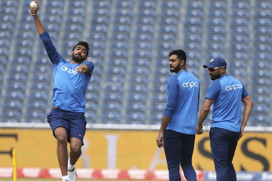 India's Jasprit Bumrah bowls in a training session in Manchester. (Pic: AP)