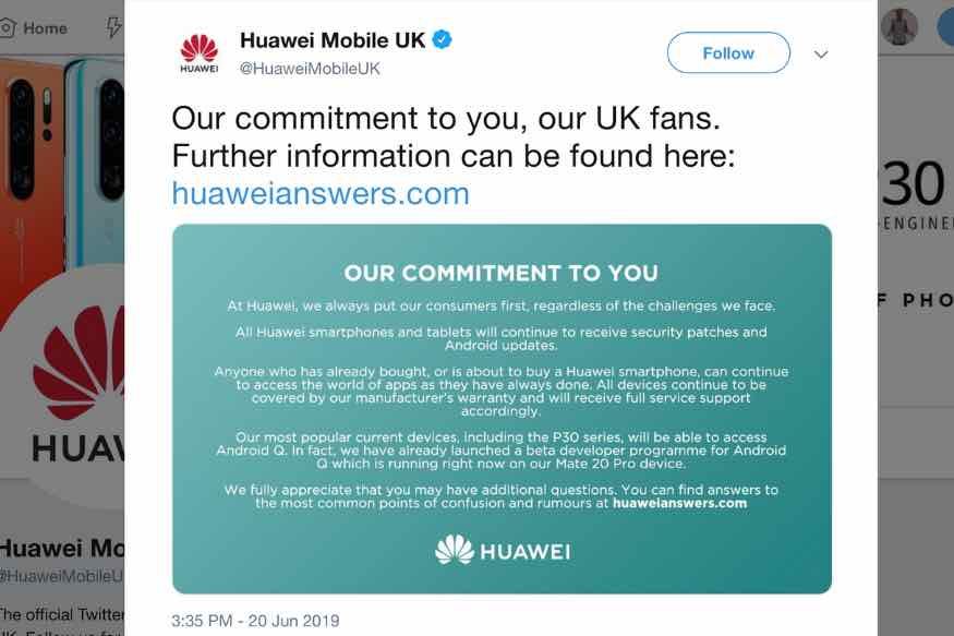 Huawei Confirms Flagship Phones Including the P30 Pro and Mate 20 Pro Will Get Android Q Update