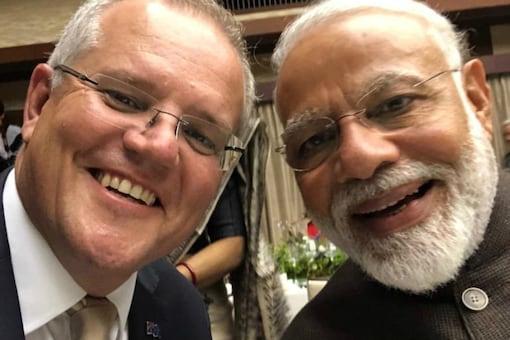 Prime Minister Narendra Modi with Australian PM Scott Morrison. (Twitter/@ScottMorrisonMP)