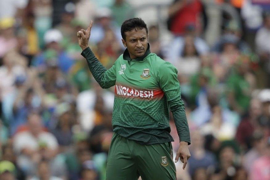 Shakib al Hasan celebrates a wicket. (AP)