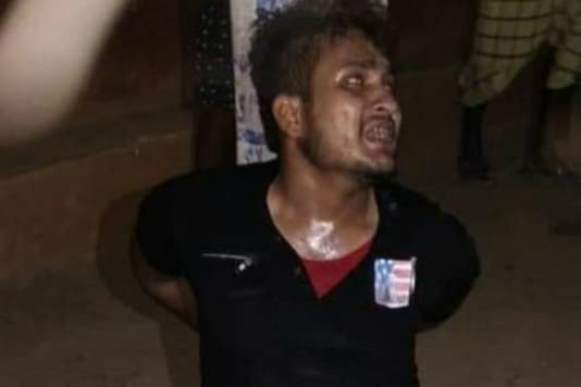 Video grab of Tabrez Ansari (24) who was beaten to death in Kharsawan district of Jharkhand. (Twitter)