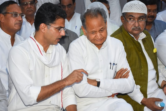 File photo of Rajasthan Chief Minister Ashok Gehlot with state Congress Committee president and Deputy CM Sachin Pilot.
