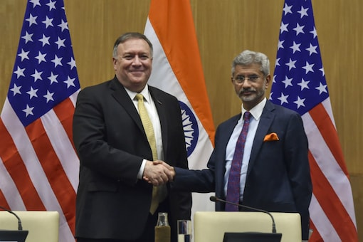 File photo of External Affairs Minister S Jaishankar with US Secretary of State Mike Pompeo. (PTI)