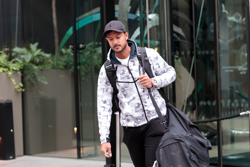 Mayank Agarwal leaves the team hotel in Manchester city centre. (AP Photo/Jon Super)