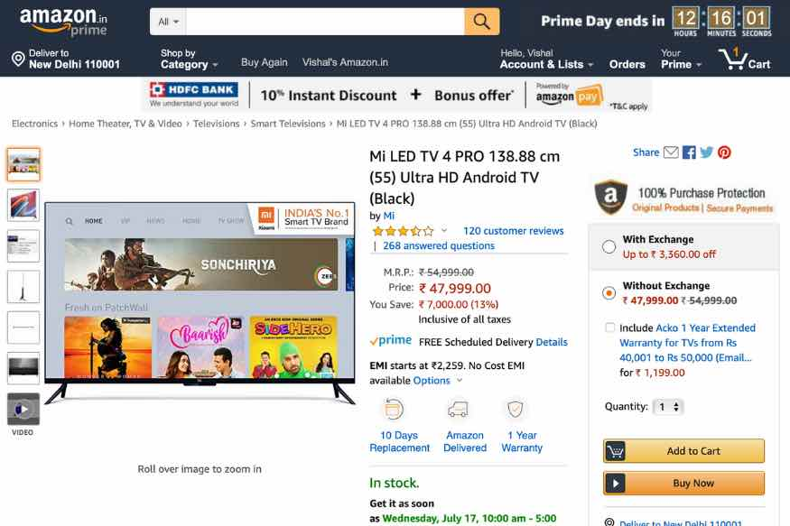 Amazon Prime Day Sale: Here is How Much a New Xiaomi Mi TV