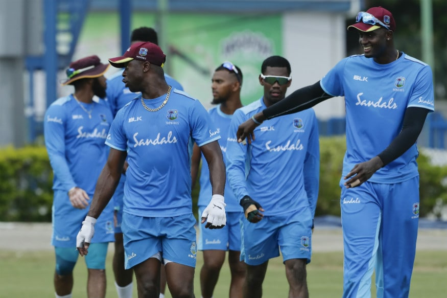 West Indies skipper Jason Holder (right) at a practice session in Port of Spain, Trinidad. (Pic: AP)