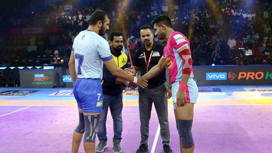 Jaipur Pink Panthers beat Tamil Thalaivas 28-26 in the second game at the Jawaharlal Nehru Indoor Stadium in Chennai on August 21, 2019. In the first game of the night, Puneri Paltan faced Bengaluru Bulls, at the same venue. Here's a look at the pictures from the match...(Image: PKL 2019)