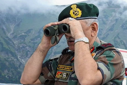 General Bipin Rawat, Chief of Army Staff (COAS)  looks across Line of Control into Pakistan Occupied Kashmir as he arrives to review prevailing situation and operational readiness of the units of White Knight Corps., in Rajouri and Ponch sector, Saturday, Aug 31, 2019. (PTI Photo)