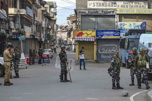Security personnel stand guard during restrictions following the abrogation of the provisions of Article 370 in Srinagar. (Image: PTI)