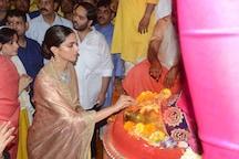 Deepika Padukone Looks Stunning in Golden Silk Saree As She Visits Lalbaugcha Raja