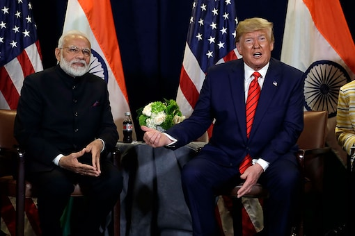 File photo of President Donald Trump meets with Prime Minister Narendra Modi at the United Nations General Assembly, in New York. (Image: AP)
