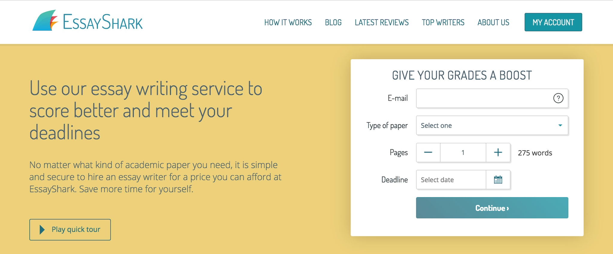 A screen shot of EssayShark's homepage, advertising essay writing services.