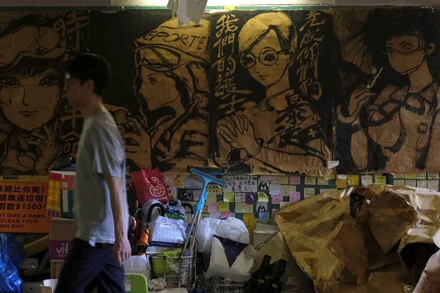 """Memos and posters over anti-extradition bill are seen on """"Lennon Walls"""" at Tai Po in Hong Kong"""