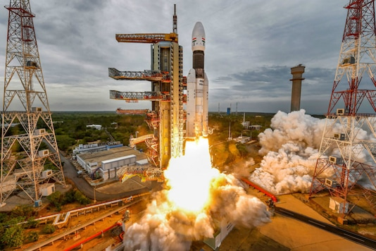 A file photo shows the Chandrayaan-2 during lift-off.