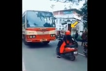 Woman on a Scooter Stops Bus From Driving on Wrong Side of Road, Social Media Applauds: Watch Video