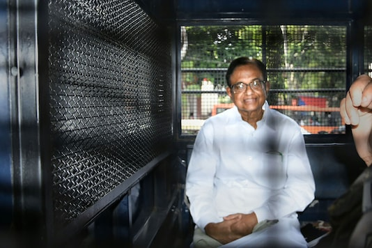 Former finance minister P Chidambaram being taken to Tihar jail from Rouse Avenue Court, in New Delhi.