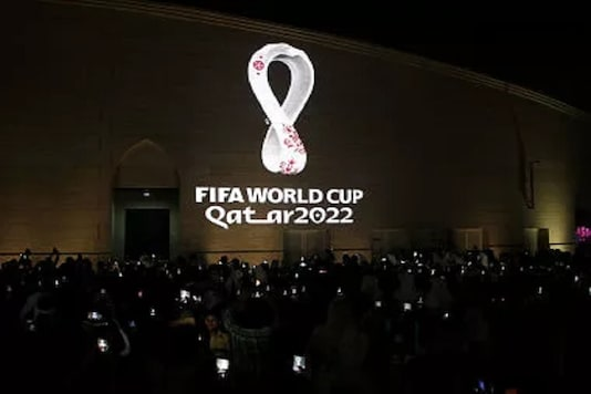 FIFA World Cup 2022's official logo is seen on the wall of an amphitheater, in Doha, Qatar. (Photo Credit: Reuters)