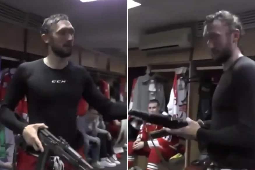 Russian Goalkeeper Saveli Kononov Gets AK-47 for his Man of the Match Performance
