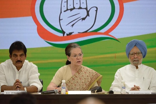 File photo of Sonia Gandhi chairing a meeting of the Congress top brass.