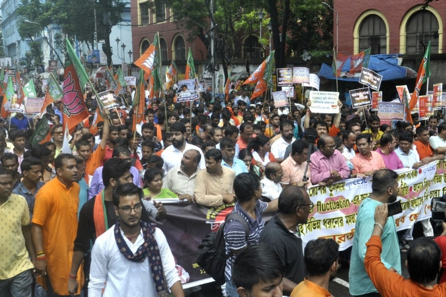 BJP Youth Wing Protest in Kolkata over 'High' Power Tariff Sees Pitched Battles on Streets, Several Hurt
