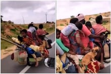 Family of 7 Rides on Bike with 2 Dogs and Hen, Video Evokes Laughter and Concern on Twitter