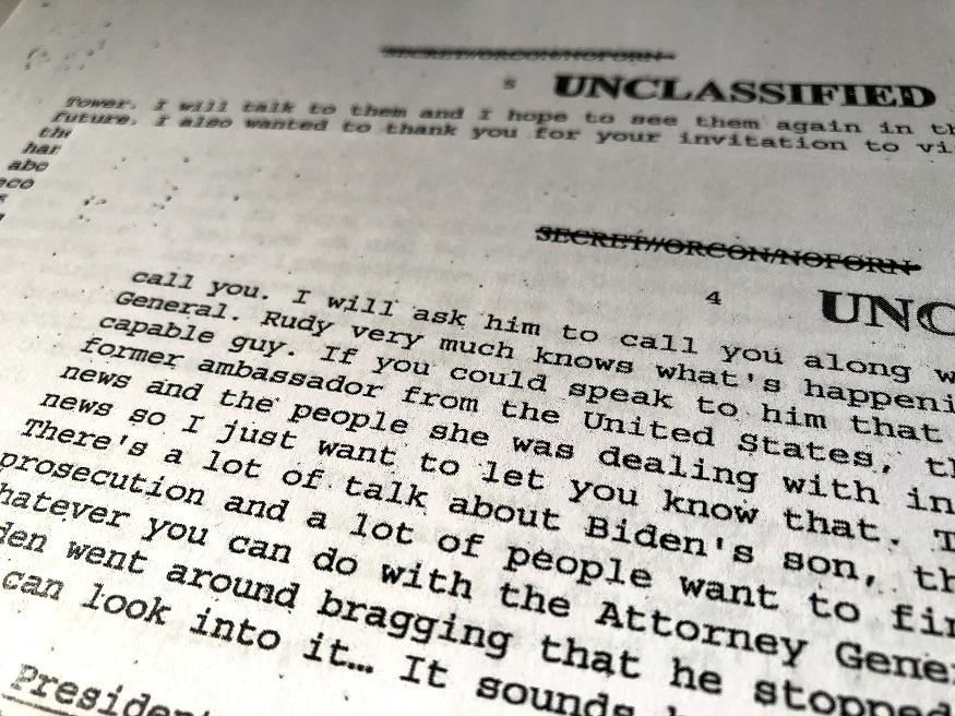 Memorandum released by White House shows President Trump referring to Joe Biden's son in call with Ukrainian President Zelenskiy