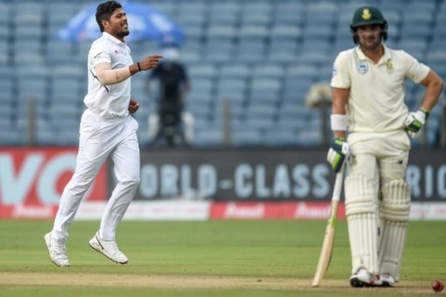 Umesh Yadav dismisses Dean Elgar (AFP)