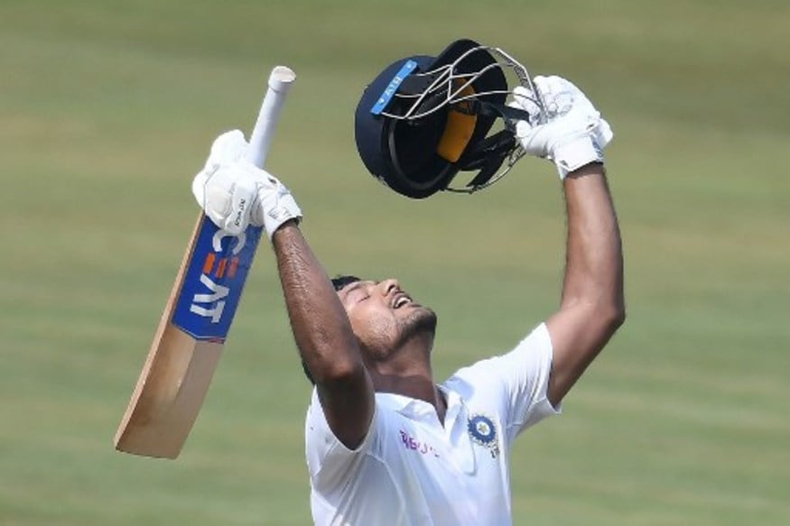Mayank Agarwal celebrates his double ton (AFP)