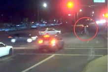 Couple With Stroller Has Lucky Escape as Sedan Rams into SUV Which Jumps Red Light