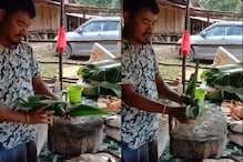 Meat Vendor Replaces Plastic With Leaves, Gets a Thumbs up From Kiren Rijiju