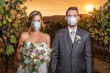 US Couple Poses With Protective Masks at Wedding Amidst Deadly California Wildire