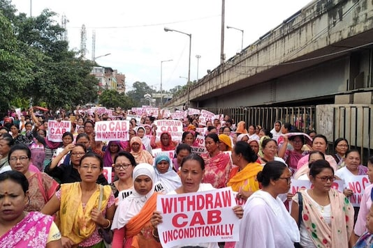 Women march against the proposed reintroduction of the bill in Imphal in October. (News18)