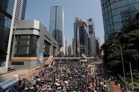 Anti-government protesters march towards the Legislative Council, on China's National Day in Hong Kong, China (Reuters)