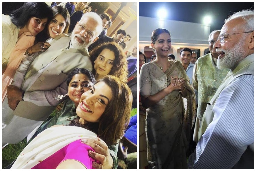 Narendra Modi Poses for Selfie with Women in Film Kangana Ranaut, Ekta Kapoor, Jacqueline Fernandez