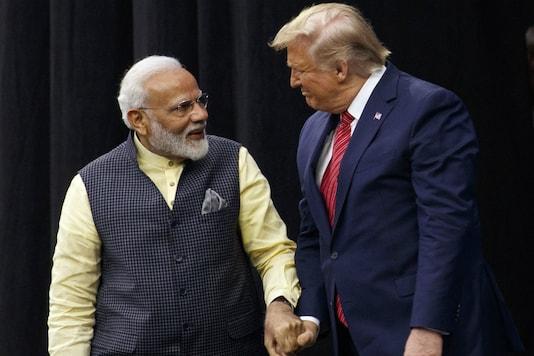 US President Donald Trump with PM Modi at 'Howdy Modi' event in Houston. The 'Namaste, President Trump' event is being held along the similar lines as 'Howdy Modi'.   (AP File Photo/Evan Vucci)