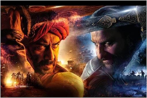 Ajay Devgn and Saif Ali Khan in the official poster of Tanhaji.