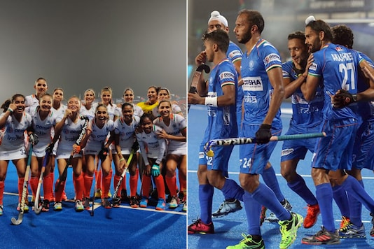 Indian women's and men's hockey teams (Photo Credit: @TheHockeyIndia)