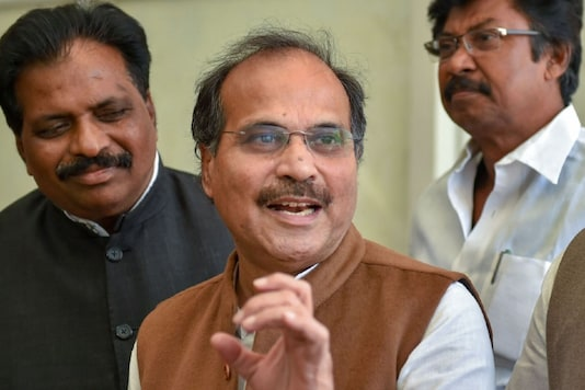 Congress leader Adhir Ranjan Chowdhury addresses the media during the ongoing Winter Session, at Parliament House in New Delhi, Tuesday. (Image: PTI)