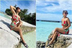 Hina Khan Shares Pics Wearing Red and Green Swimsuit on Maldives Vacay