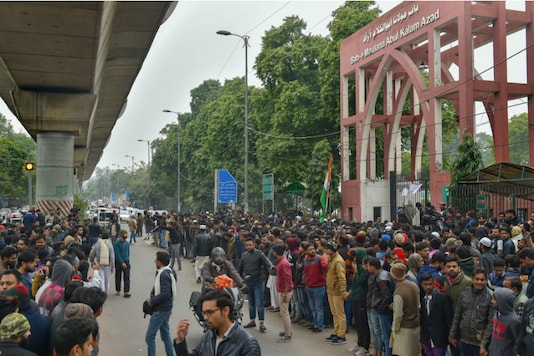On Monday, students raised slogans as they protested against Delhi Police's action on students at Jamia Millia Islamia on Sunday (PTI)