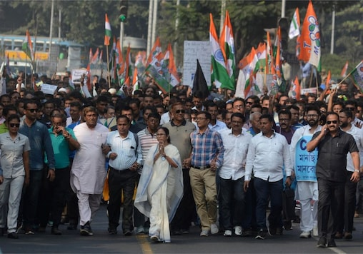 File photo of West Bengal Chief Minister Mamata Banerjee leading a protest against the new citizenship law in Kolkata.