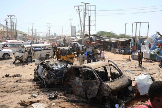 A general view shows the scene of a car bomb explosion at a checkpoint in Mogadishu, Somalia. (Reuters)
