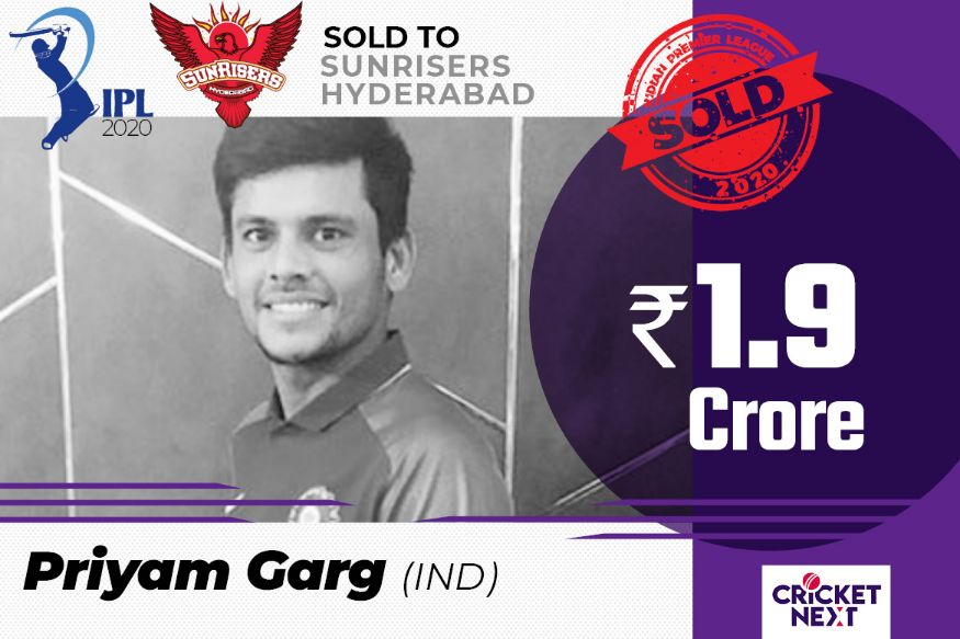 Priyam Garg sold to Sunrisers Hyderabad for a whopping 1.9 crore. (Image: Network18 Creative)