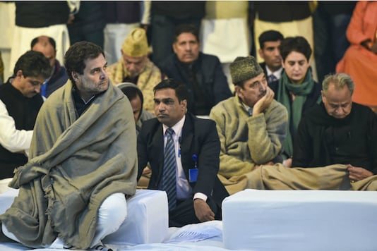 Congress  leader Rahul Gandhi  during a 'satyagraha' demanding protection for the Constitution in the view of CAA and NRC, at Mahatma Gandhi's samadhi Rajghat in New Delhi on Monday (PTI)