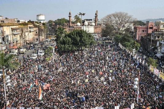 File photo of a protest against the Citizenship Amendment Act in Iqbal Maidan, Bhopal, Madhya Pradesh. (PTI)